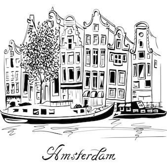 Vista della città di vettore del canale di amsterdam