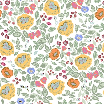 Vettore classico e retrò fiori di rosa illustrazione botanica motivo ripetizione senza soluzione di continuità digitale