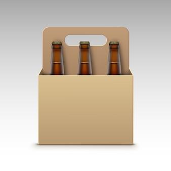 Bottiglie di vetro marrone trasparente di vettore chiuso di birra scura chiara