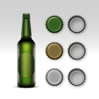 Bottiglia verde trasparente di vetro in bianco chiuso di vettore di birra chiara