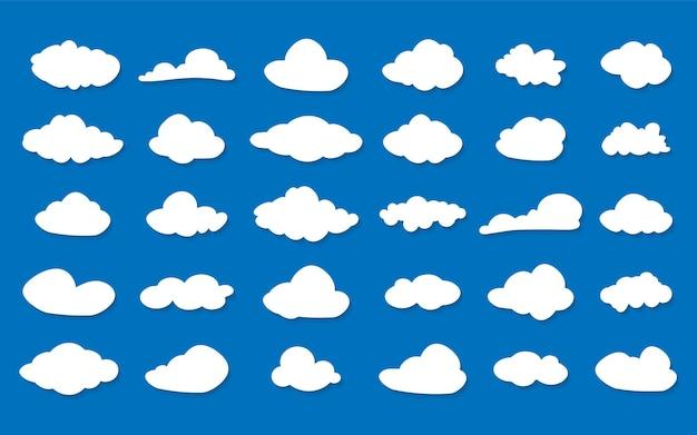 Icone della nuvola di vettore messe. siluette delle nuvole. insieme dell'icona di vettore di nuvole bianche. raccolta di nuvole diverse