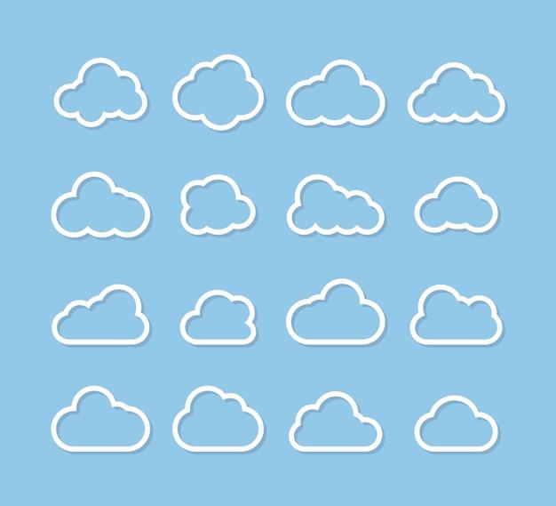 Icone bianche della nuvola di vettore. collezione di nuvole. icone di vettore della nuvola. nuvole in linea design semplice. illustrazione vettoriale