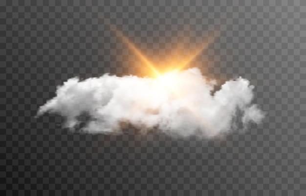 Nuvola vettoriale con il sole alba alba raggi di luce del sole nebbia di fumo nuvola png