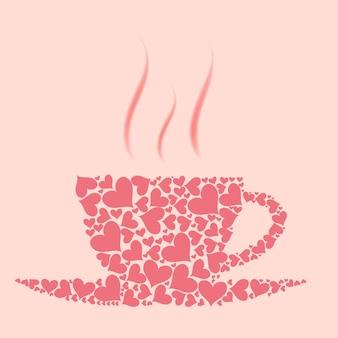 Tazza di caffè vettoriale da cuori rossi