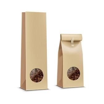 Borsa d'imballaggio del pacchetto del caffè di vettore isolata su bianco