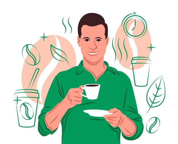 Caffè vettoriale all'ombra dello stile delle linee nette