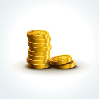 Monete di vettore isolate. economia di successo delle monete d'oro. vincita del jackpot del tesoro