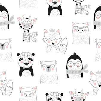 Collezione vettoriale di carte simpatici animali disegnati a mano e slogan