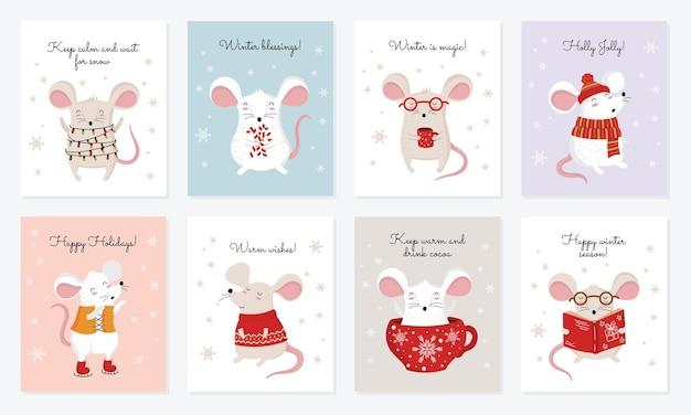 Collezione vettoriale di carte con simpatici topi invernali che disegnano a mano in abiti accoglienti
