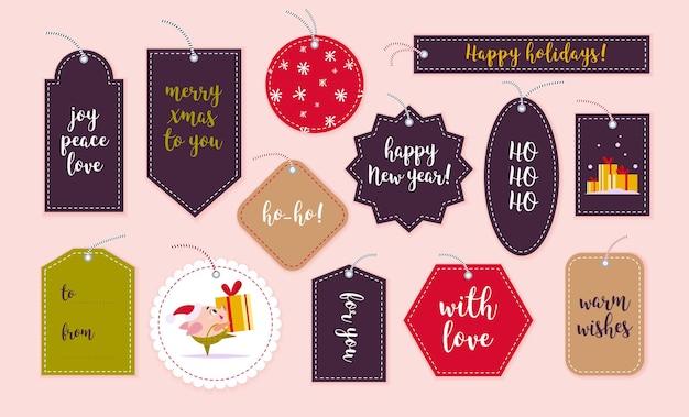 Insieme vettoriale di tag regalo di natale e distintivi isolati su sfondo chiaro. emblemi per l'imballaggio dei regali di natale. motivo, luogo del testo, congratulazioni, design del personaggio di capodanno.