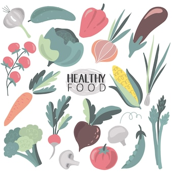 Vector la raccolta delle verdure organiche del fumetto fresco variopinto isolate su fondo bianco