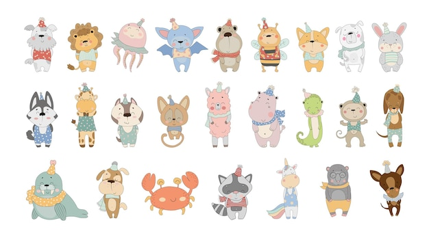 Collezione vettoriale di simpatici animali dei cartoni animati