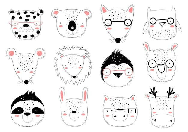 Collezione vettoriale di simpatici animali scarabocchiati per bambini zoo grafico disegnato a mano