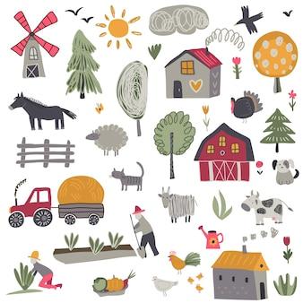 Collezione vettoriale di simpatici animali da fattoria disegnati a mano alberi case mulino trattore