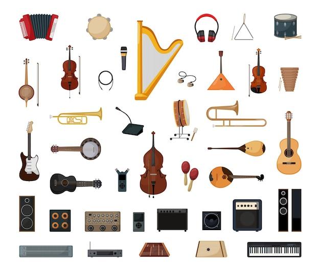 Accumulazione di vettore di strumenti musicali dettagliati. illustrazioni per il negozio di musica.