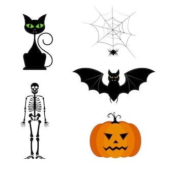 Collezione vettoriale di diverse sagome di halloween nere carino.