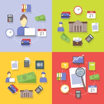 Accumulazione di vettore dei concetti di affari e finanza piatti e colorati. elementi di design per applicazioni web e mobile.