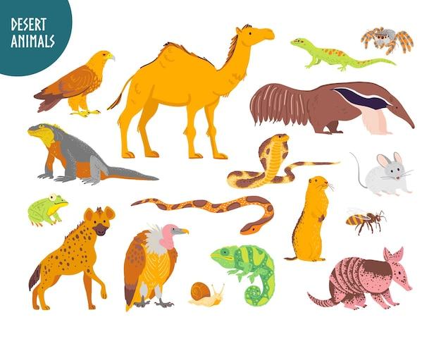 Collezione vettoriale di animali del deserto disegnati a mano piatti, rettili, insetti: cammello, serpente, lucertola isolato su priorità bassa bianca. per illustrazione di libri per bambini, alfabeto, emblemi dello zoo, striscioni, infografiche.