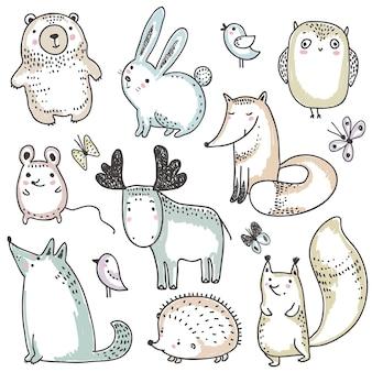 Collezione vettoriale di animali selvatici della foresta disegnati a mano