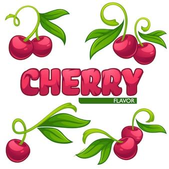 Collezione vettoriale di adesivi per succhi e logo, simboli ed emblemi di bacche di ciliegia cherry