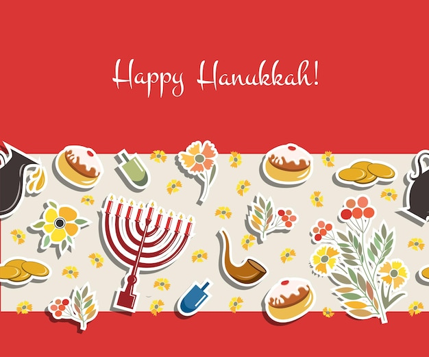 Raccolta vettoriale di etichette ed elementi per hanukkah happy hanukkah poster senza cuciture con fiori