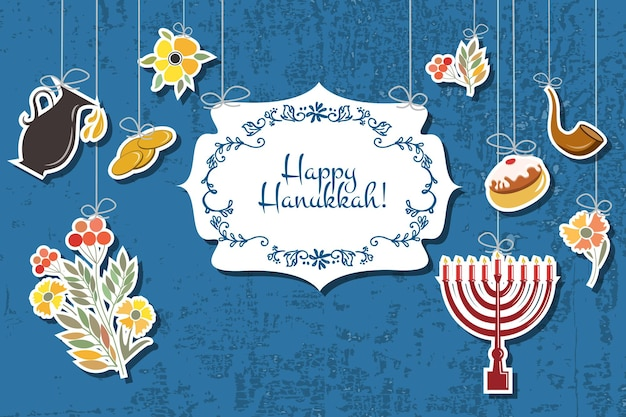 Insieme vettoriale di etichette ed elementi per hanukkah. firma