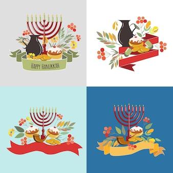 Raccolta vettoriale di etichette ed elementi per hanukkah signature happy hanukkah con monete di fiori