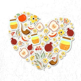 Insieme vettoriale di etichette ed elementi per rosh hashanah (capodanno ebraico). icona o distintivo a forma di cuore. modello per cartolina o biglietto d'invito con fiori