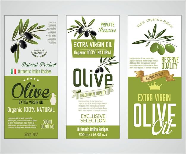 Insieme vettoriale di etichette di olio d'oliva