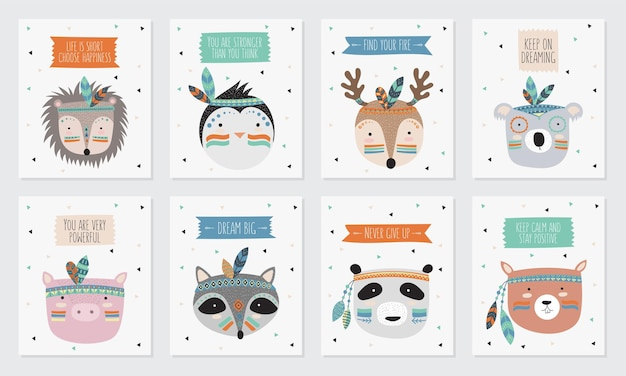 Collezione vettoriale di cartoline con facce di animali tribali indiani con slogan motivazionali. festa dell'amicizia, san valentino, anniversario, compleanno, festa per bambini o adolescenti