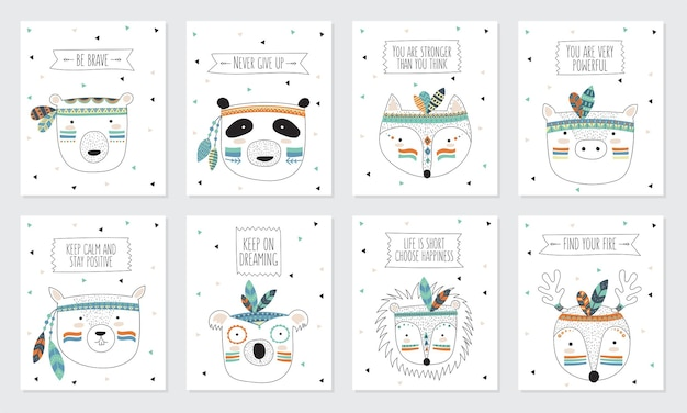 Collezione vettoriale di cartoline con facce di animali tribali indiani con slogan motivazionali
