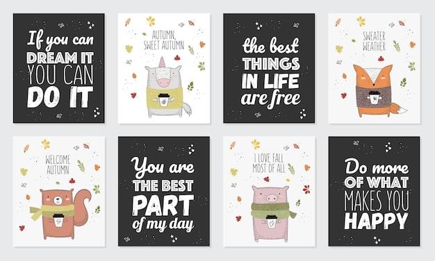 Collezione vettoriale di cartoline con animali da disegno in maglione e slogan sull'autunno