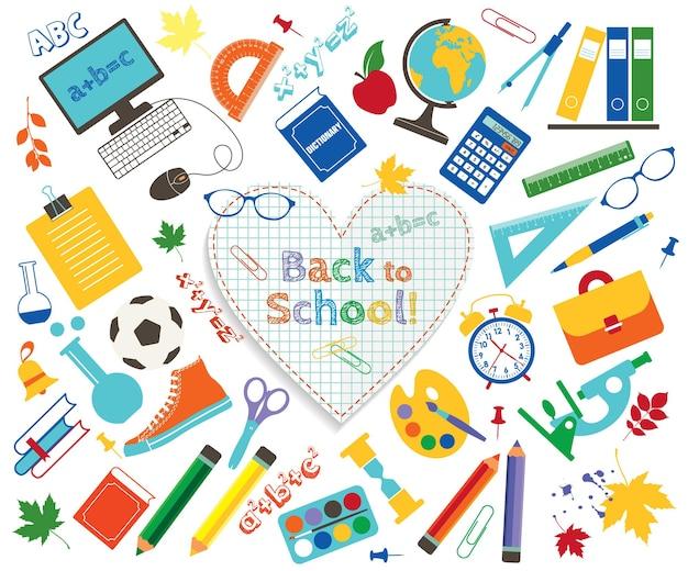 Raccolta di vettore di materiale scolastico e immagini icona isolata impostata su sfondo bianco