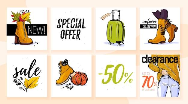 Collezione vettoriale di elementi di vendita autunnali alla moda maglione borsa per stivali jeans schizzo disegnato a mano