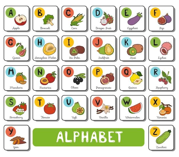 Alfabeto di colore di vettore con frutta e verdura su priorità bassa bianca. biglietto quadrato con lettere az