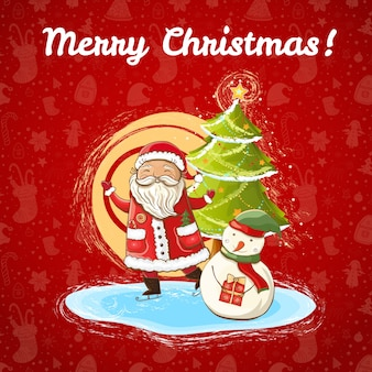 Modello di natale luminoso di colore vettoriale per con illustrazione di babbo natale felice, pupazzo di neve e albero di natale luminoso. disegnato a mano, .