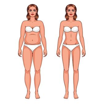 Vector l'illustrazione di colore di una ragazza di peso eccessivo e di una ragazza esile. ragazza in biancheria intima isolata da fondo