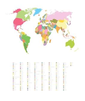 Illustrazione a colori vettoriale di una mappa del mondo con i nomi dei paesi.
