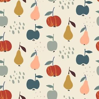 Modello senza cuciture naturale autunnale colorato vettoriale con frutta pera e mela
