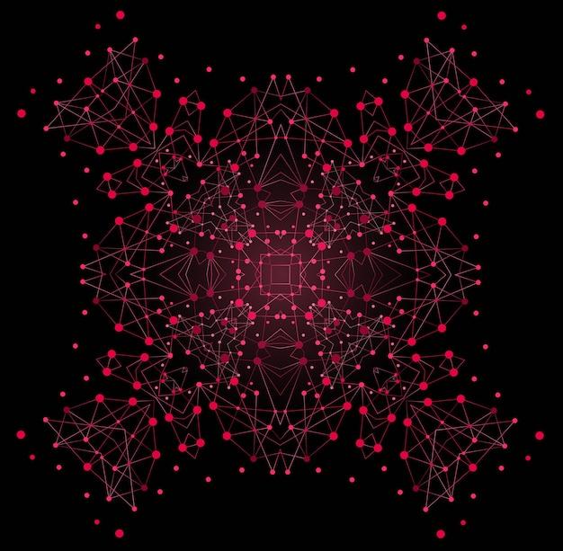 Forma brillante colorata vettoriale, struttura molecolare con sfondo di linee e punti.