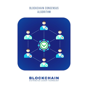 Il principio dell'algoritmo di consenso blockchain di design piatto colorato vettoriale spiega lo schema illustrazione icona quadrata arrotondata blu isolato sfondo bianco