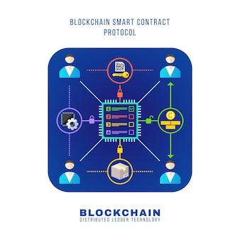Vettore colorato design piatto blockchain smart contract protocollo rinciple spiegare schema illustrazione blu quadrato arrotondato icona isolato sfondo bianco