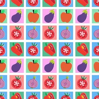 Illustrazione vettoriale di frutti colorati senza cuciture motivo ripetuto decorazioni per la casa stampa tessuto da cucina