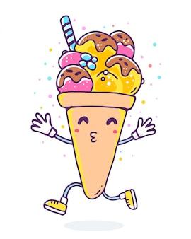 Illustrazione variopinta di vettore del gelato di carattere con le gambe e le mani su priorità bassa bianca