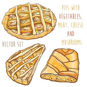 Illustrazione variopinta di vettore di torte con ripieno: verdure, carne, formaggio e funghi. impostato.
