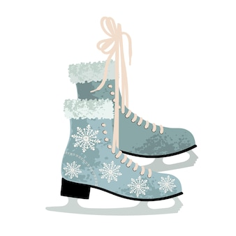 Illustrazione variopinta di vettore delle calzature dell'attrezzatura della pista di ghiaccio dell'annata dei pattini di figura dell'inverno