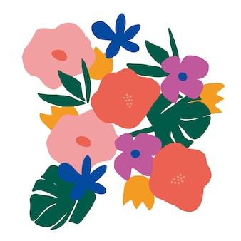 Risorsa grafica dell'illustrazione del fiore scandinavo moderno e semplice di vettore colorato