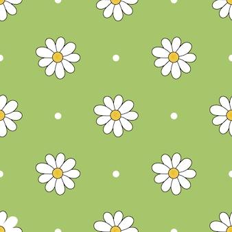 Modello colorato vettoriale di fiori di camomilla di diverse dimensioni con sfondo verde e punti bianchi