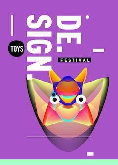 Modello di poster colorato di vettore per giocattoli e festival di hobby