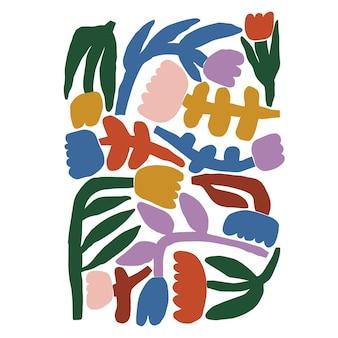 Vector l'illustrazione dell'icona del motivo dei fiori disegnati a mano in stile moderno e semplice scandinavo variopinto di vettore